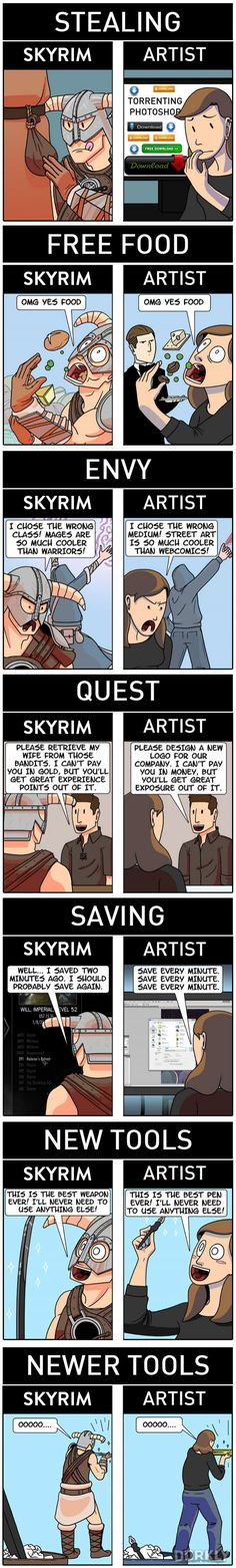 """How Skyrim Perfectly Describes the Life of an Artist"" #dorkly #geek #skyrim"