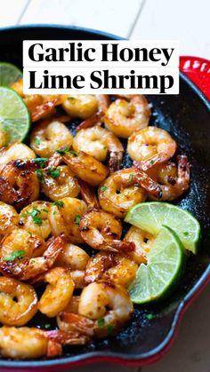 Shrimp Recipes For Dinner, Shrimp Recipes Easy, Meals With Shrimp, Garlic Shrimp Recipes, Spicy Food Recipes, Simple Healthy Dinner Recipes, Garlic Honey Shrimp, Healthy Seafood Recipes, Clean Eating Dinner Recipes