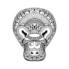 Platypus head totem for adult anti stress coloring page for art therapy, tribal illustration in doodle style.