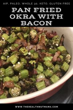 This AIP Paleo Pan Fried Okra with Bacon is so easy to make, delicious & healthy! One of my favorite ways to make okra. It's Whole 30, Keto, Gluten & Grain Free too! A perfect side dish to accompany… Easy Healthy Dinners, Easy Healthy Recipes, Quick Meals, Paleo Recipes, Real Food Recipes, Paleo Side Dishes, Okra, Whole 30 Recipes, Grain Free