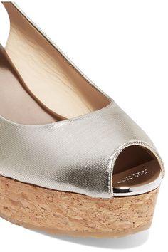 Jimmy Choo - Praise Lamé Wedge Sandals - Gold - IT35.5