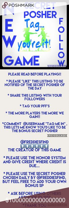 "FULL👀Please see new listing👀 @trendyrose_btq Secret Posher of the Day   ☀️GAIN 200+ Followers a Day! ☀️Please Like, Share & Tag your PFF's ☀️Follow all the followers of the SPD & SBPD ☀️Share 5 items in the SPD & BSPD closets ☀️Want to be the Daily Posher? Comment @username ""Tag me in"" (Please be Posh Compliant)  10/13 @nela52 BSPD @trendyrose_btq EXTRA @centsible_wears 10/12 @msupergn BSPD @styledbuyv EXTRA @bijoux888 10/11 @annrut BSPD @jjulibean EXTRA @chicinspiration Accessories"