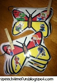 Butterfly Clothespin Comprehension Fun: a fun listening to descriptions activity!  Free downloads at SpeechTimeFun!