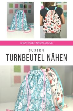 Here I show you how you can easily carry a gym bag or backpack … Backpack Bags, Drawstring Backpack, Hipster Bag, Textiles, Learn To Sew, Handmade Bags, Diy Tutorial, Carry On, Crafts For Kids