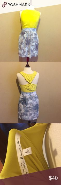 Rachel Roy Dress *SALE - need to sell today!* Rachel Roy statement dress. Mid length. Bright green stretchy top with a waist band and sequin blue and white pattern bottom. RACHEL Rachel Roy Dresses Midi