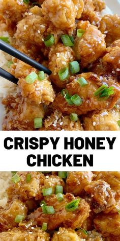Crispy honey chicken fried on the stove top and then covered in a sweet honey soy sauce dressing serve over rice for a better than takeout dinner! chickenrecipes dinner easyrecipes lunch food cooking stock image food and drink Healthy Chicken Recipes, Meat Recipes, Asian Recipes, Cooking Recipes, Recipe Chicken, Oven Recipes, Cooking Box, Cooking Eggs, Cooking Dishes