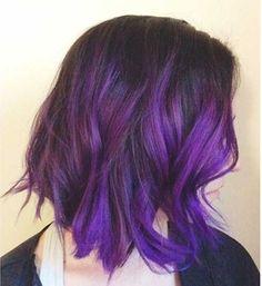 brunette ombre bob purple - Google Search