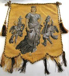 Fine Antique 1800's Victorian Beadwork Needlepoint Fire Screen Banner Panel | eBay