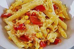 Nudelauflauf mit Mais und Paprika