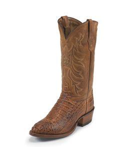 "<ul><li>Upper: 13"" Vamp: Cognac Vintage Bodycut Hornback Caiman Foot</li><li>Toe: R</li><li>Welt: Handcrafted In The USA</li><li>Heel: 4 - 1 5/8"" Height</li><li>Insole: Lama Comfort Technology</li><li>Outsole: 3/4 Welt Leather</li></ul>"