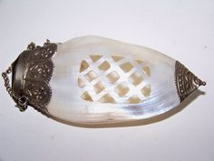 Victorian Chatelaine Clam Shell Perfumer Mother of by SmakBoutique