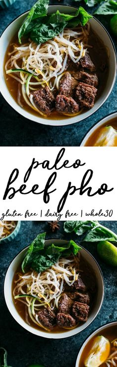 Paleo Beef Pho | A tasty pho recipe made with zucchini and kelp noodles, keeping this Paleo and Whole30 compliant with TONS of flavor! | thealmondeater.com