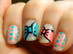Tri Polish Tuesday Coral, Nude and Turquoise bow & dots