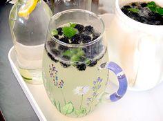 Blackberry Elderflower Spritzer with Mint  makes about 1 liter pitcher