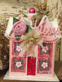 Valentine Glitter House Large Pink Putz House by ThePokeyPoodle