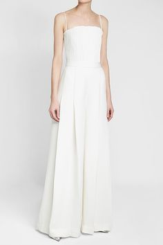 Brandon Maxwell Floor Length Gown with Pleated Top Brandon Maxwell, Floor Length Gown, White Style, Wide Leg, Jumpsuit, Gowns, Formal Dresses, Shopping, Beauty