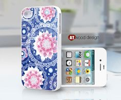 IPhone 5 case IPhone 4 case blue background pink by Atwoodting, $7.99