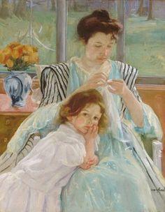 Jeune mère cousant, Mary Cassatt 1902
