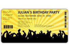 Einladungskarten Geburtstag als Ticket Eintrittskarte Einladung Karte mit Abriss- Perforation