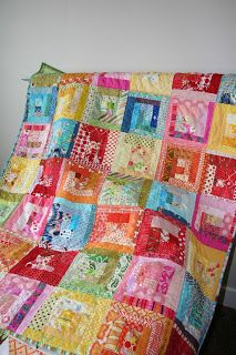 Scrappy log cabin quilt - I think this will be my rainbow quilt