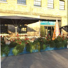 Granary Square, Kings Cross (London) commissioned Garden Requisites to create these steel galvanized Large Planter Troughs in their stunning Blue painted finish. Painting Galvanized Steel, Large Planters, Yard Ideas, Exterior, Urban, London, Create, Metal, Garden