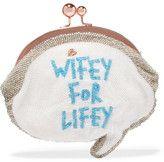 Sophia Webster - Wifey For Lifey Beaded Cotton Clutch - White