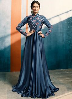 Graysish Blue Satin Silk New design Anarkali Dress Patterns With Price