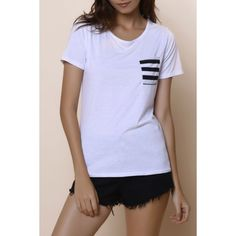 Casual Women's Scoop Neck Striped Short Sleeve Loose-Fitting T-Shirt — 7.73 € Size: S Color: WHITE