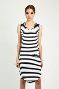 Contemporary black and white stripes in this ethical dress that is perfect for summer in 100% Organic Cotton, made in Australia.