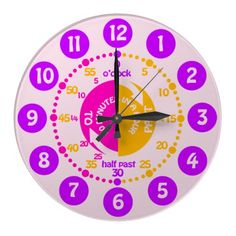 $26.95 Girls learn to tell time pink purple wall clock #Education #homeschooling