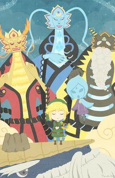 Legend of Zelda Skyward Sword art > Link, Fi, & The Three Dragons : Eldin, Faron, Lanayru Skyward Sword Link, Zelda Skyward, Link Zelda, Water Dragon, Fire Dragon, The Legend Of Zelda, Thunder Dragon, Hyrule Warriors, Videogames