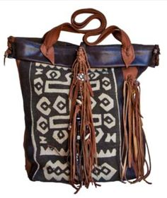 African mudcloth wit leather; tribal chic