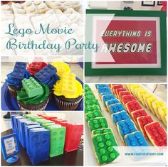 Lego Movie themed birthday party details.  Click or visit FabEveryday.com for more photos and instructions for many Lego-themed party DIY projects