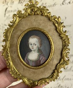 RARE Antique French Portrait Miniature of a Child, a Girl, c.late 1700s, Elegant French Easel Frame Antique Frames, Antique Art, Rare Antique, Shes Perfect, Miniature Portraits, Old Paintings, Easel, French Antiques, Little Ones
