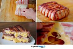 Bacon Wrapped toasted cheese sandwich - can it get any better than this? Cheese Wrap, Good Food, Yummy Food, Light Recipes, Kos, Sandwiches, Food Porn, Cooking Recipes, Breakfast
