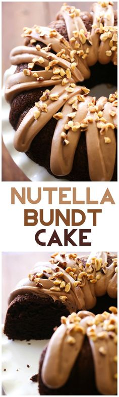 Nutella Bundt Cake - This cake is beyond moist and delicious! It is a chocolate-lovers dream! Nutella Bundt Cake - This cake is beyond moist and delicious! It is a chocolate-lovers dream! Bunt Cakes, Cupcake Cakes, Cupcakes, Just Desserts, No Bake Desserts, Delicious Desserts, Cheesecake Desserts, Raspberry Cheesecake, Baking Recipes