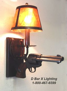"""DX803 - Rustic """"Stick 'Em Up"""" Wall Sconce with Replica Pistol"""