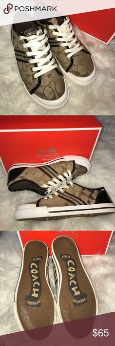 Coach sneakers Brown signature Coach sneakers. Includes Brown patent leather. Coach Shoes Athletic Shoes