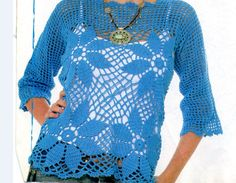 Crochetemoda: Blusas de Crochete..So pretty,and there are diagrams for making this top..only four motifs for the front!