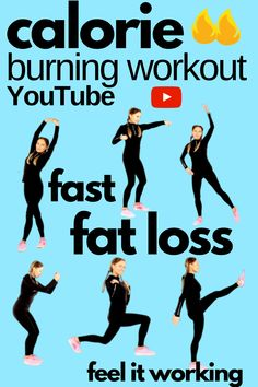 Calorie Burning Home Workout. Burn off calories fast with this fat burning inch loss workout. All the moves work lots of muscles so you naturally speed up your metabolic rate so you will lose inches and strip off belly fat fast. This home workout is easy to follow and with this free video you don't need any equipment. Key To Losing Weight, How To Lose Weight Fast, Weight Loss, Lost Weight, Calorie Burning Workouts, Fat Burning Workout, 30 Day Abs, Challenge, Lose Inches