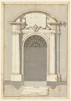"Pilasters flank open door. In lunette, a tablet. Arch contains lunette of organic pattern. Scales: ""Scala Modalatoria/ Scala di Palmi dieci Romani."""