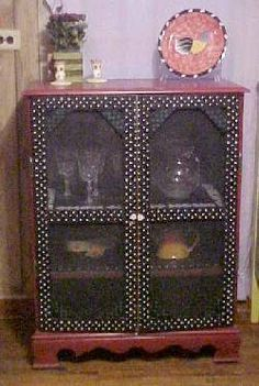View Full-Size - old dresser with no drawers repurposed with inexpensiv screen doors painted