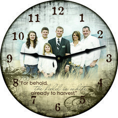 """""""For behold the field is white already to harvest."""" 18 inch Custom Photo Clock"""