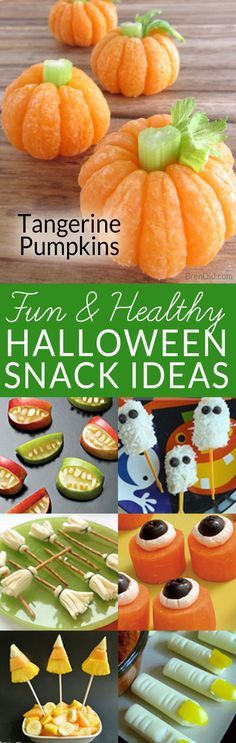 Sick of so much sugar at Halloween? These healthy Halloween snack ideas are fun for kids. Make easy tangerine pumpkins with your kids this fall or try one of the other healthy Halloween treats.