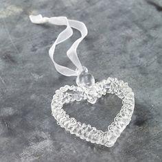 Glass Spun Heart Decoration - Christmas Decorations | The White Company