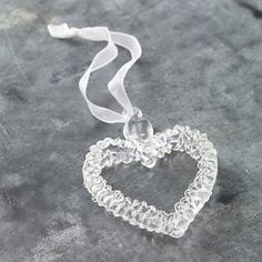 Glass Spun Heart Decoration - Christmas Decorations   The White Company