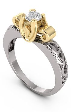 She'll Absolutely Fall in Love with this Art Deco 1/4 Carat Diamond Ring - 14K Two-Tone Gold -