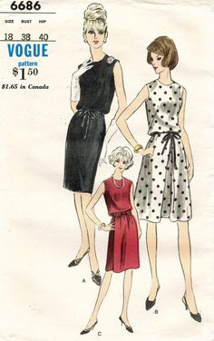 1960's VTG VOGUE Misses'  Dress  Pattern 6686 Size 18