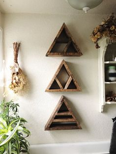 Set of 3 Gemstone Triangle Shelves. Geometric shelves. Apothecary. Boho Shelves. Bohemian style. Urban shelves. Modern shelves. Gypsy