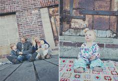 Urban family shoot crochet rug